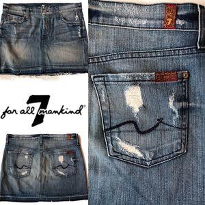 7 For All Mankind denim releases hem mini skirt 25